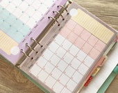 """Monthly Planner inserts Full color, UNDATED """"Pink coffee cup collection"""""""