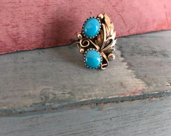 Size 7 Navajo Sleeping Beauty Mine Turquoise Sterling Silver Native American Indian Boho Chic Tribal Southwestern Ring, 4g. Stamped RK