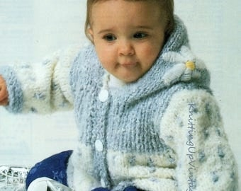 Baby & Toddler Knitting Pattern pdf Chunky Hooded Jacket