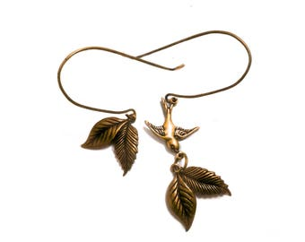 Romantic Autumn, Fall, Leaves, Bird holding a Leaf, Copper, Rustic Long earrings, Vintage style, Dove, Peace and Love asymmetric Earrings