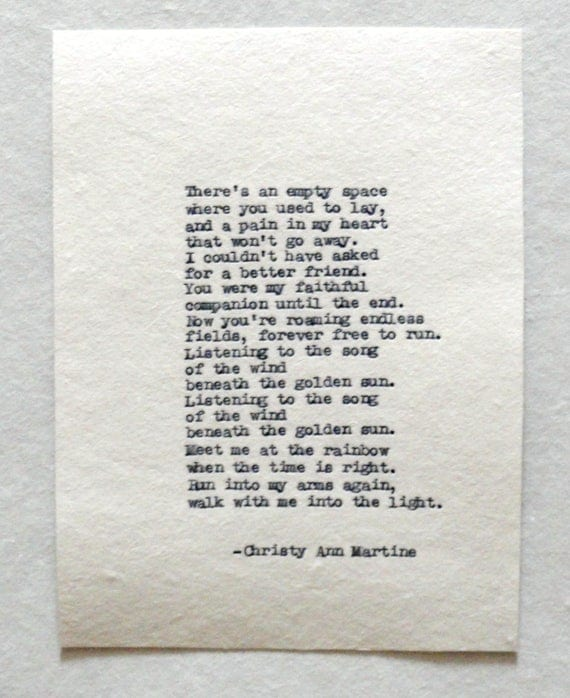 Loss of Pet Poem - Forever Free Poem Rainbow Memorial - Loss of a Pet - Dog or Cat Memory - Hand Typed by Poet