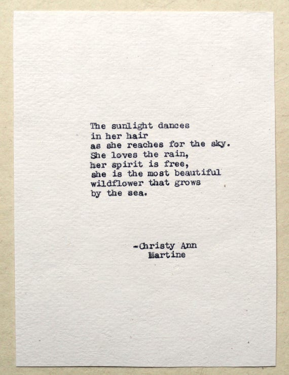 Christmas Gifts for Daughter or Friend - The Sunlight Dances In Her Hair - Sea - Wildflower Poem Typed by Poet with Vintage Typewriter