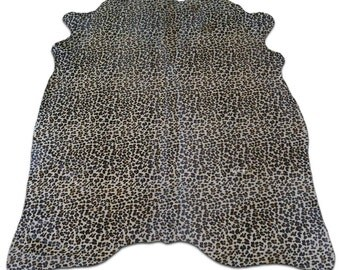 Leopard Print Cowhide Rug Size: 6.7' X 5.4' ft  Leopard Print Cowhide Skin Rug j-250