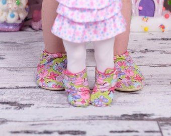 custom doll and me slippers - toddler slippers - Easter gifts for girls - birthday gift - doll and girl matching outfits - doll clothes