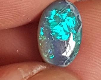 6 x 10mm oval electric green/blue 1.42ct Lightning Ridge black opal