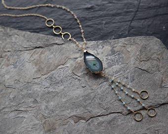 Green agate druzy long Y-necklace
