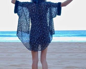 Havana Nights Black Velvet Sheer Floral Kimono