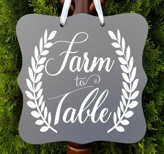 Farm to Table Sign, Farmhouse Sign, Kitchen Decor, Farm Sign, Cafe Sign, Door Sign, Country Kitchen Sign, Store Sign, Wreath Sign