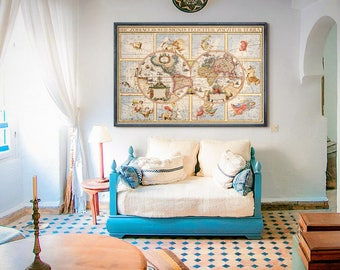"""World map with Zodiac signs 1615 Large vintage map of the World and Sky, 4 sizes up to 54x36"""" (140x90cm) - Limited Edition of 100"""