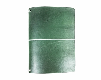 Pearl Green Leather Travelers Cover - Vegetable Tanned - CityGirl Collection - Iced Pine - Notebook - Full Grain - Journal - Hand-Dyed