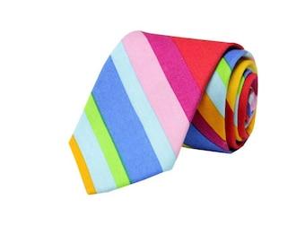 Rainbow Ties.Mens Colorful Stripe Neckties.Rainbow Wedding Ties.SKinny Ties. Groomsmen Ties. Gifts.
