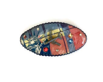 Vintage Barrette Hair Clip 1990s Handmade Airplane Statue of Liberty Plaid Collage Plastic Coating