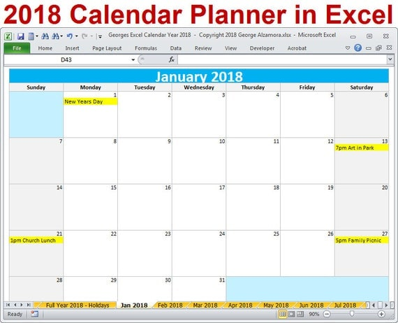 2018 yearly calendar excel