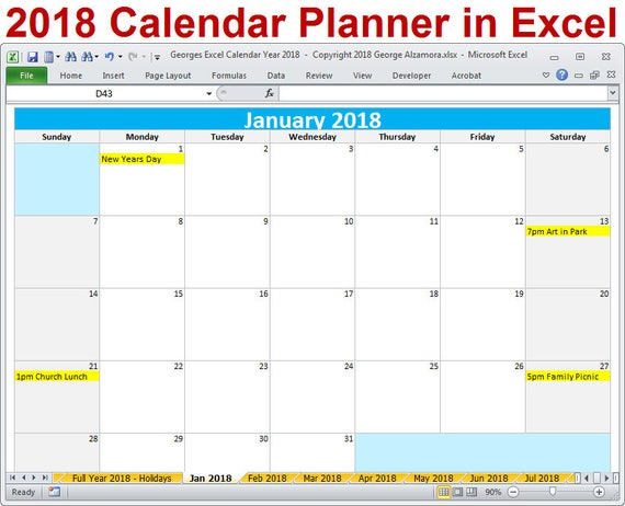 2018 Calendar Year Planner Excel Template 2018 Monthly