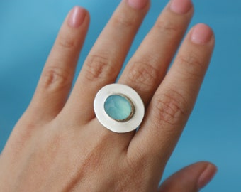 Faceted Chalcedony Gem Ring Size 5