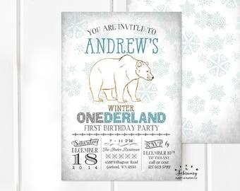 Any Age // Polar Bear Boy Birthday Invitation Boy Winter Onederland Invitation First Birthday Arctic Birthday Printable No.598KIDS