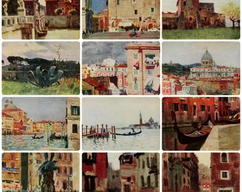In Italy - Painting by Y. Podlaski - Set of 12 Vintage Soviet Postcards 1965. Rome Venice Florence Venetian Lagoon Canal Landscape Art Print