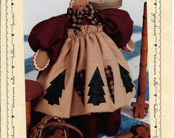 "Gingerbread Doll Pattern Another Christmas Cookey 10"" by Katie's Homespun Stitches 1995"