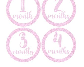 Monthly Stickers, Milestone Stickers, Baby Month Stickers, , Monthly Baby Sticker, Baby Shower Gifts, Baby Month Sticker Girl, G40