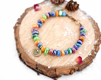 Rainbow Mexican Bracelet • Jewellery for wife girlfriend, boho, day of the dead, sugar skull, jewelry, Valentines Present, dia muertos