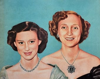 1951 Princess Margaret and Margaret Truman - Richard Deane Taylor - 1950s Collier's Magazine Cover Art - British Royal Family