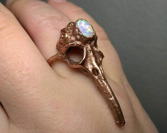 Crow Skull with Pink Opal Ring