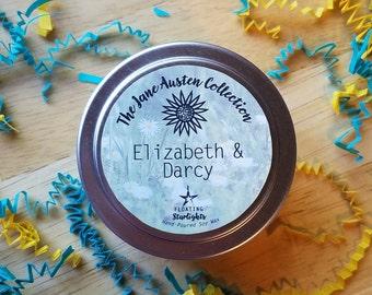 Elizabeth & Darcy 4 oz Candle / Jane Austen Candles / Classics Gift Set / Pride and Prejudice / Elizabeth Bennet / Pemberley / Love Candle