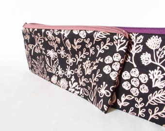 ROSE GOLD & Black FLORAL Pouch. Small Pouch. Small Travel Pouch. Purse Organizer. Travel Wallet.Women Gift.Birthday Gift. Rose Gold Bag.Girl