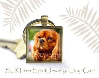 King Charles Spaniel Keychain, Ruby Red King Charles, Dog Key Ring, Pedigree Dogs Pendant, Photo image Keychain, Keychain gift