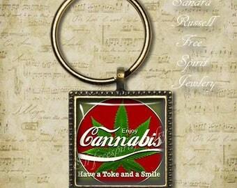 "420 Jewelry, ""Enjoy Cannabis"" Key Chain, Legal Cannabis, Medical Marijuana, Smoke, Weed, Pot, Pot Gift, Recreational, Washington, Colorado"