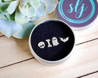 Sterling Silver Creeps earrings / bat earrings / ghost earrings / bone earrings / skull earrings/  925 / gifts for her / halloween gifts