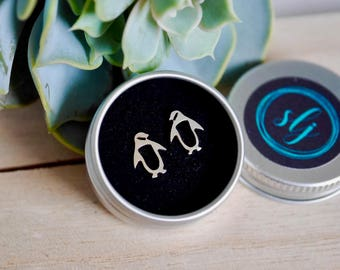 Sterling Silver Penguin Earrings / 925 / stud earrings / penguin gift / gifts for her / hypoallergenic / stocking filler / gift ideas