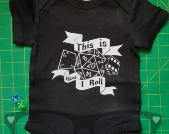 Baby vest, this is how I roll, geek, dice, nerd, parents, babywear, baby fashion, boardgame, D&D, dungeons and dragons, geek, baby shower