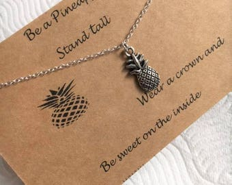Pineapple Necklace, Silver Pineapple Necklace, Charm Necklace, Fruit Necklace, Fruit Jewellery,