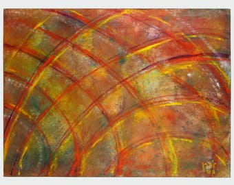 Abstract Acrylic Painting 40 x 30 Abstraction Art Orange Yellow Checkered