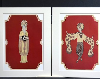 Pair of Erte Matted Prints 1987 - ASIAN PRINCESS SUITE  Plum Blossom and Willow Tree  - Professionally Matted Art Deco Fashion Illustrations