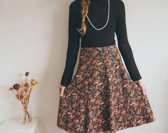 Vintage Floral A-line Skirt, Cord Skirt, Boho Skirt, Midi Skirt