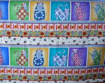 tissu coton  patchwork panneau de 12 chats multicolores / Larges vignettes de chats stylisés.