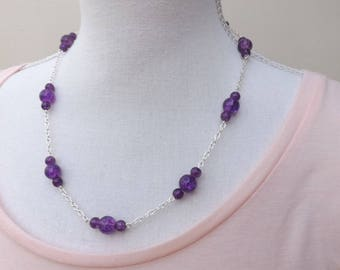 Purple crackle glass and chain necklace, purple necklace, silver plated chain