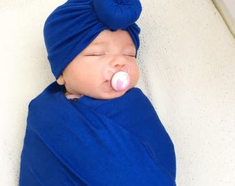 Baby Turban Hat in Cobalt Blue, Turban Bun Hat, Turban Top Kbot Hat, baby beanie, Baby Hat, Baby Turban