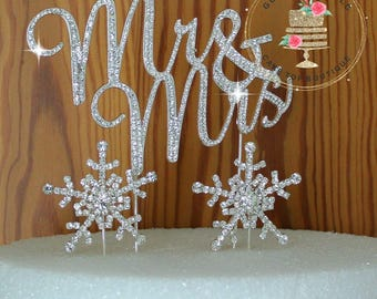 Mr and Mrs Wedding Cake topper with crystal snowflakes rhinestone silhouette cake decoration cake jewelry