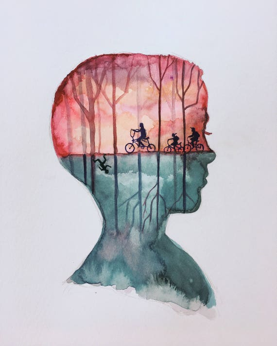 Eleven stranger things original painting watercolor for Things to do on paint