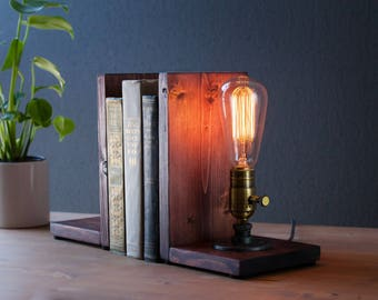 Bookend lamp/Rustic home decor/Industrial lamp/Steampunk light/Unique lamp/Housewarming/Gift for Men & Book lover/Desk accessories