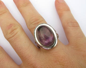 Vintage Heavy Adjustable Sterling Silver Ring set with an Amethyst