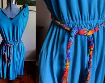Medium -  1980's Turquoise Jersey Dress