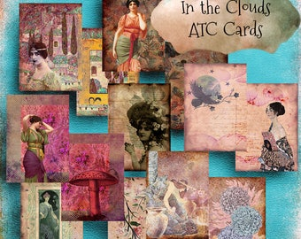 Printable  ATC Cards  Art Nouveau  IN the CLOUDS Journal Cards  Pocket Cards  Jewelry Card  Digital  ClipArt  Gypsy  Collage Supply