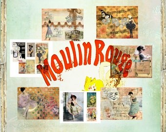 Moulin Rouge  Vintage Printable Journal  Digital Paper  Vintage Dancer  Ephemera Pack  Junk Journal Inserts  Digital Collage  Mixed Media
