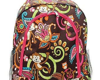 Monkey Print Monogrammed School Backpack Hot Pink Trim