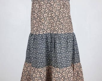 Vintage 1970s Peasant Tiered Empire Line Patchwork Cotton Floral Dress Size 10