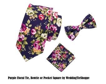 Purple Pink Tie Wedding Tie Floral Tie Pocket Square Cotton Flower Groomsman Wedding Necktie Regular 3.1 Inch Groomsmen Pretied Bowtie